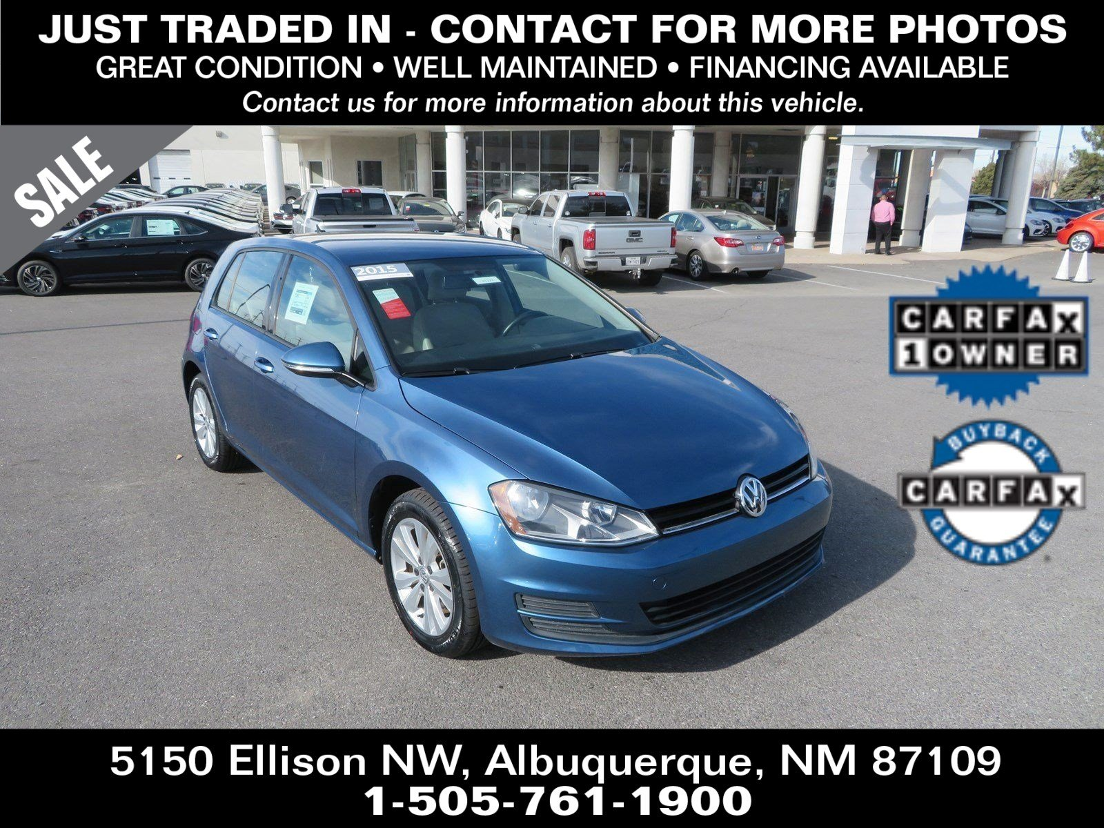 Pre-Owned 2015 VOLKSWAGEN GOLF HATCHBACK TDI S 4-Door